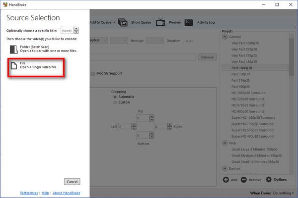 BD/DVD ISOをHandBrakeに追加