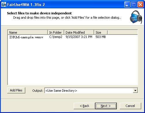DRM解除フリーソフト:Fairuse4WM