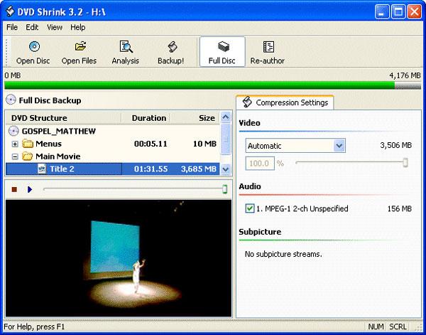 DVDコピーガード解除フリーソフト:DVD Shrink